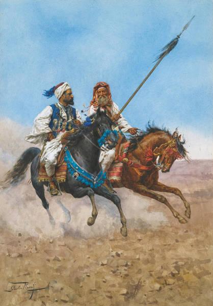 Giulio Painting - The Arab Riders by Giulio Rosati
