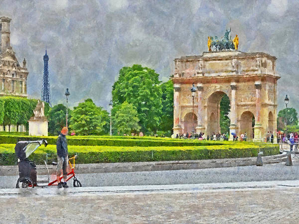 Digital Art - The Arc De Triomphe Du Carrousel Outside Of The Louvre by Digital Photographic Arts