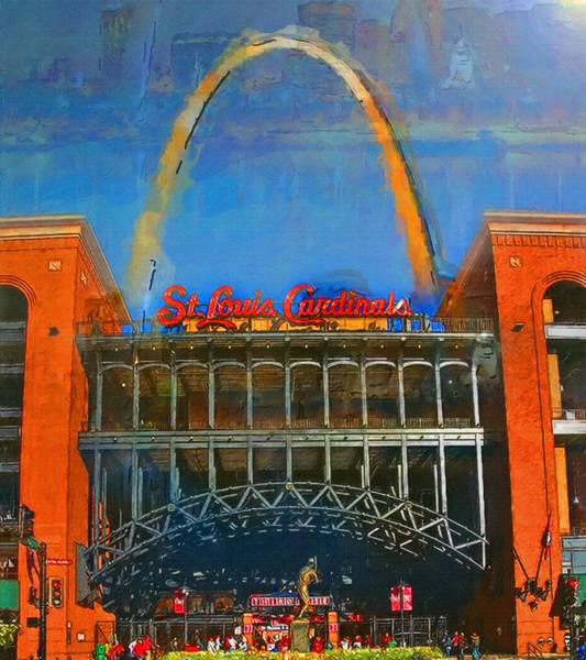 St Louis Arch Painting - The Arch And Busch Stadium by John Farr
