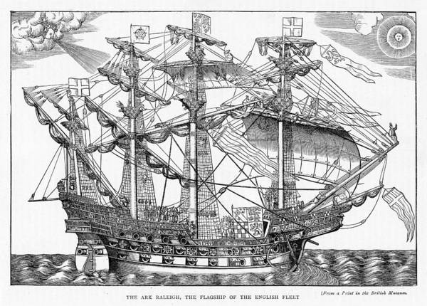 Fire Drawing - The Ark Raleigh The Flagship Of The English Fleet From Leisure Hour by English School