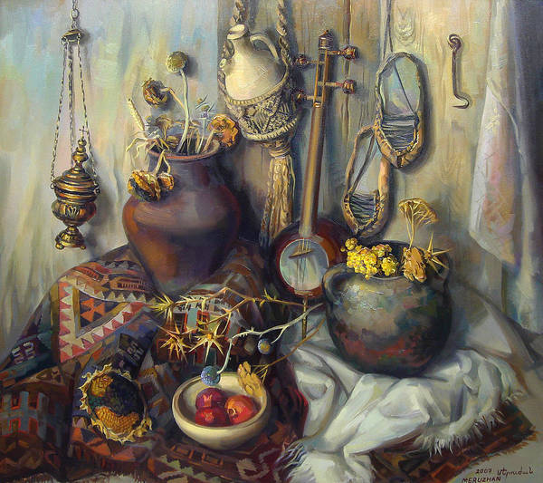 Pomegranates Painting - The Armenian Still-life With Culture Subjects by Meruzhan Khachatryan