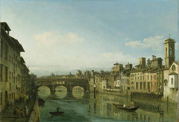 Townscape Wall Art - Painting - The Arno In Florence With The Ponte by Bernardo Bellotto