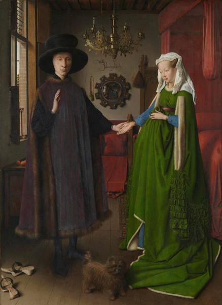 Arnolfini Painting - The Arnolfini Portrait by Jan van Eyck
