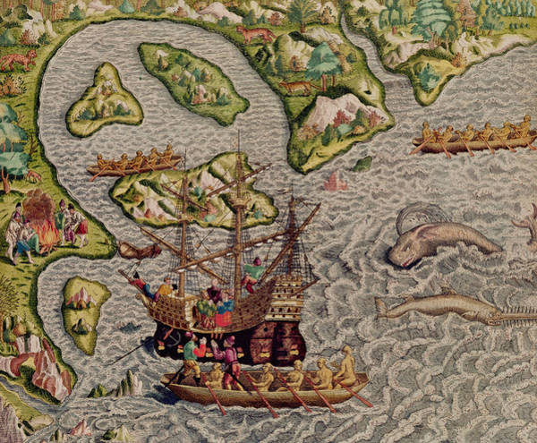 Wall Art - Painting - The Arrival And Disembarkation On The American Coast, From Americae Tertia Pars, 1592  by Theodore de Bry