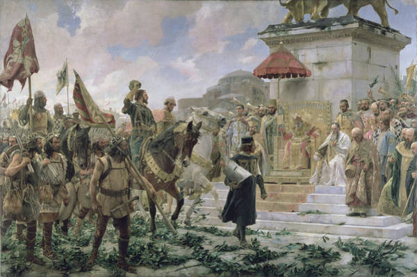 Receptions Photograph - The Arrival Of Roger De Flor 1280-1307 In Constantinople In 1303 With 8000 Almogavares Serving by Jose Moreno Carbonero