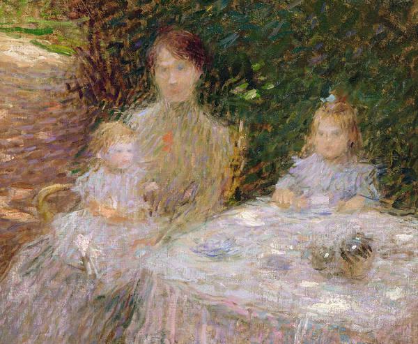 Dappled Light Painting - The Artist's Family In The Garden by Ernest-Joseph Laurent