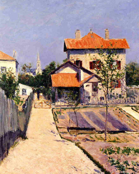 Vegetable Patch Wall Art - Painting - The Artists House At Yerres by Gustave Caillebotte