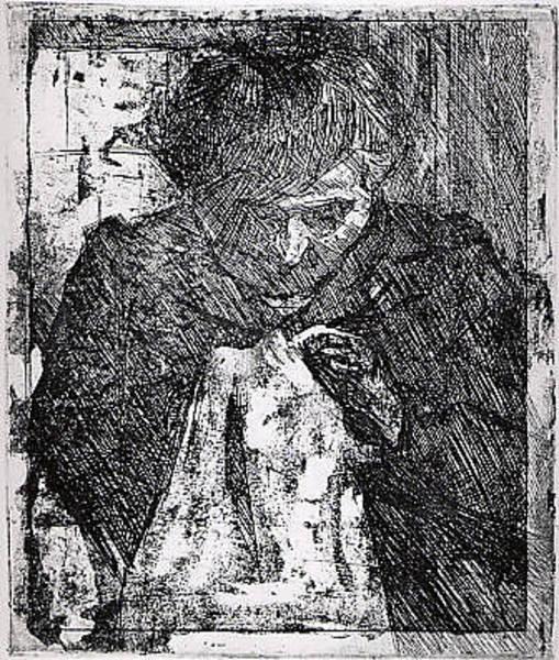 Boccioni Wall Art - Drawing - The Artists Mother Sewing by Umberto Boccioni