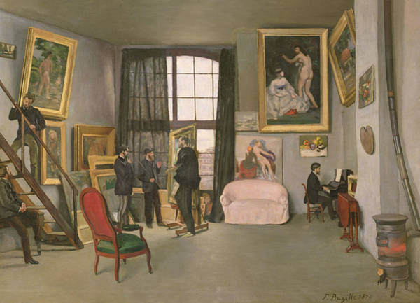 Window Frame Painting - The Artist's Studio by Jean Frederic Bazille