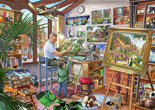 Wall Art - Painting - The Artists Studio Steve Crisp by MGL Meiklejohn Graphics Licensing