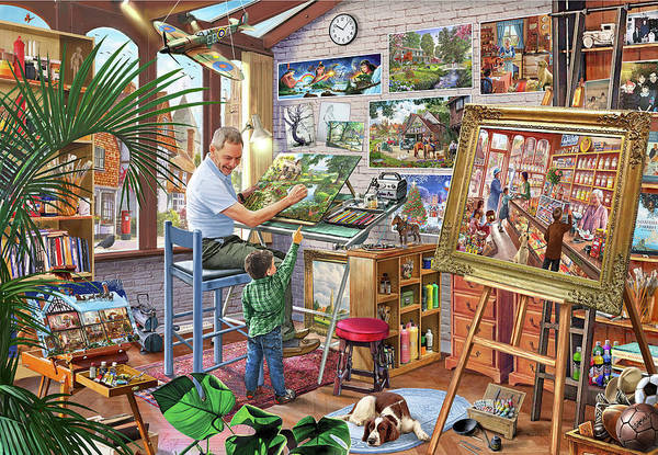 Wall Art - Painting - The Artists Studio Steve Crisp Usa by MGL Meiklejohn Graphics Licensing