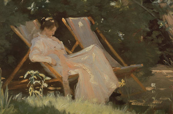 Dgt Wall Art - Photograph - The Artists Wife Sitting In A Garden Chair At Skagen, 1893 by Peder Severin Kroyer