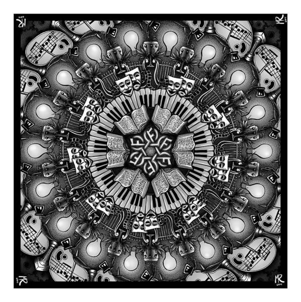 Harp Digital Art - Mandalart by Matthew Ridgway