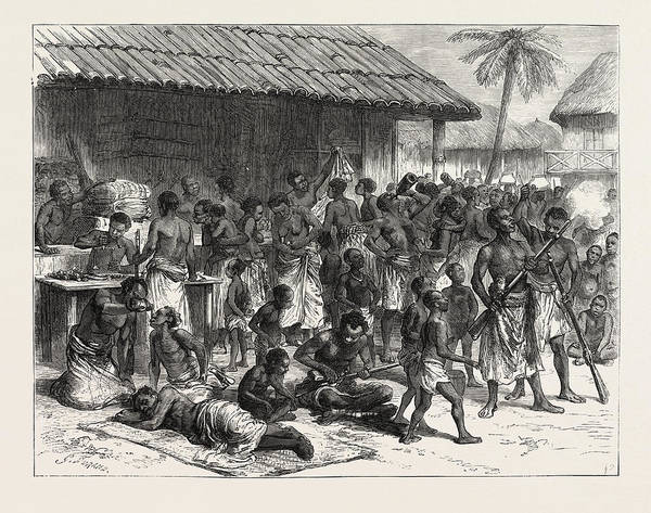 Dust Drawing - The Ashanti War Ashantees Buying Muskets With Gold Dust by African School