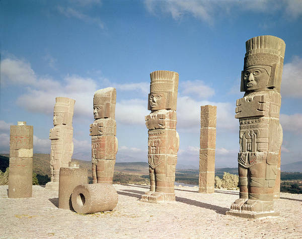 Wall Art - Photograph - The Atlantean Columns On Top Of Pyramid B, Pre-columbian Photo by Toltec
