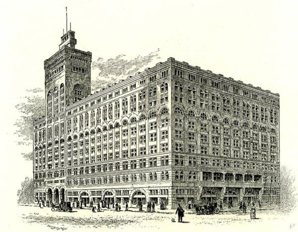 Vintage Chicago Drawing - The Auditorium Building Chicago Usa 1891 by American School