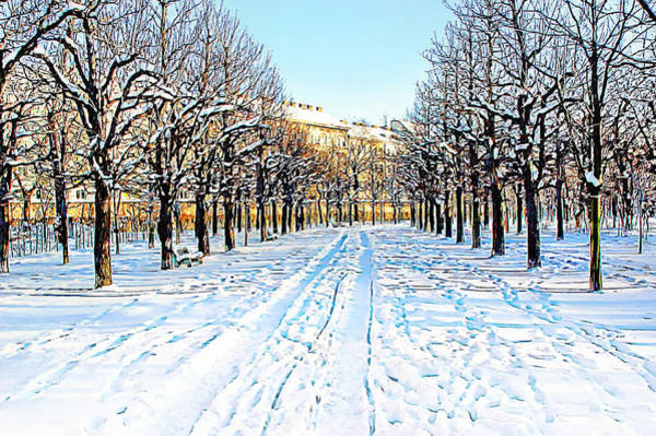 Photograph - The Augarten In The Snow by Menega Sabidussi
