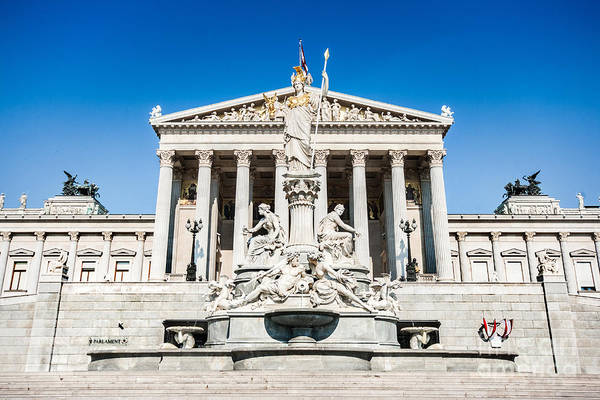 Greek Revival Architecture Photograph - The Austrian Parliament by JR Photography