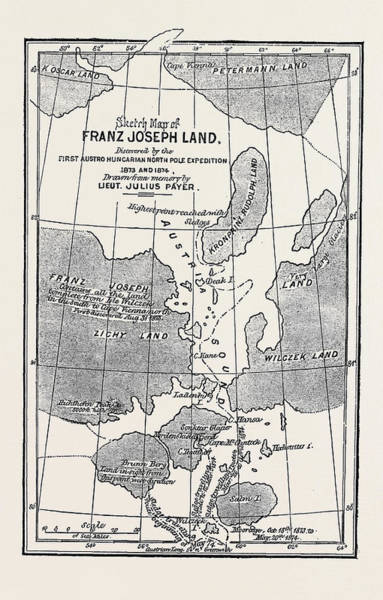 Payers Wall Art - Drawing - The Austrian Polar Expedition, Map Of Franz Joseph Land by Austrian School