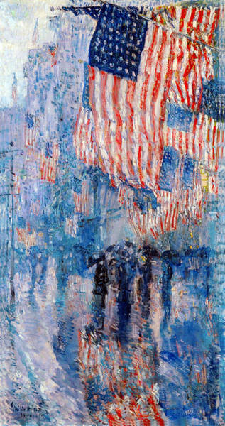 Scene Digital Art - The Avenue In The Rain by Frederick Childe Hassam