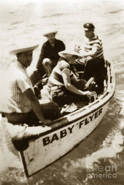 Photograph - The Baby Flyer With Ed Ricketts And John Steinbeck  In Sea Of Cortez  1940 by California Views Archives Mr Pat Hathaway Archives