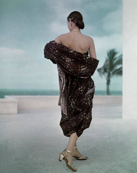 Photograph - The Back Of A Woman Wearing A Brown Dress by John Rawlings