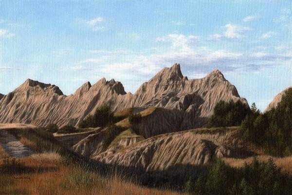 Badlands Wall Art - Painting - The Badlands In South Dakota Oil Painting by Rachel Stribbling