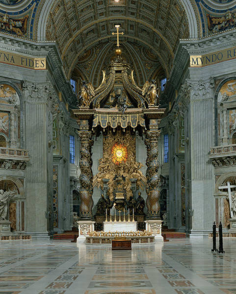 Holy Spirit Photograph - The Baldacchino, The High Altar And The Chair Of St. Peter Photo by Gian Lorenzo Bernini