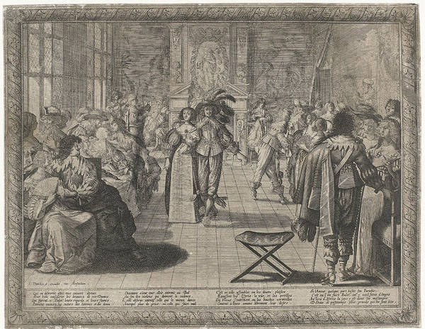 Mens Clothing Wall Art - Drawing - The Ball, Interior With Elegant Company by Cornelis Danckerts Abraham Bosse