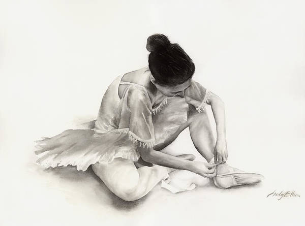 Monochrome Painting - The Ballet Dancer by Hailey E Herrera