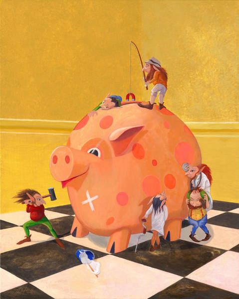 Wall Art - Painting - The Bank Robbery by Leonard Filgate