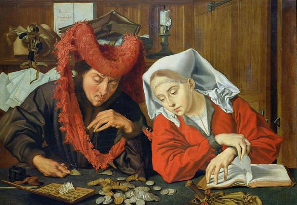 Wall Art - Painting - The Banker And His Wife by Marinus van Roejmerswaelen