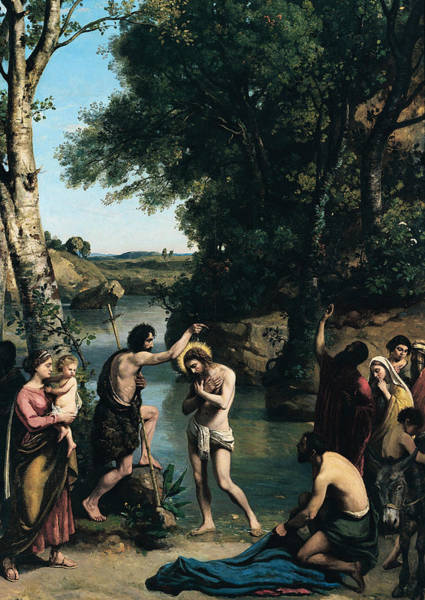 Church Of The Cross Painting - The Baptism Of Christ by Jean Baptiste Camille Corot