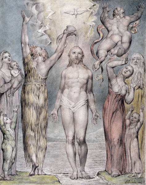 Gospel Drawing - The Baptism Of Christ by William Blake