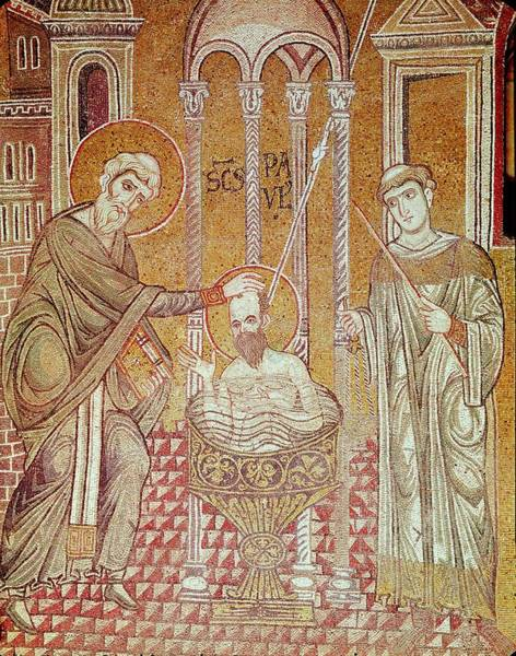 Damascus Photograph - The Baptism Of St. Paul By Ananias, From Scenes From The Life Of St. Paul Mosaic by Byzantine School