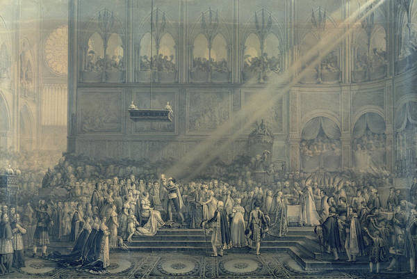 Napoleon Photograph - The Baptism Of The King Of Rome 1811-32 At Notre-dame, 10th June 1811, After 1811 Engraving by French School