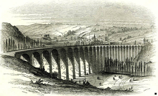 Wall Art - Drawing - The Barentin Viaduct France 1847 Opening Of The Rouen by French School
