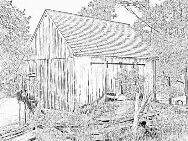 Digital Art - The Barn At The Oliver Miller Homestead by Digital Photographic Arts