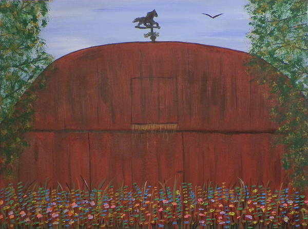 Ione Painting - The Barn by Ione Hedges