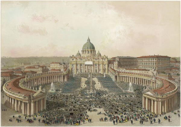 Wall Art - Drawing - The Basilica And Piazza Di San  Pietro by Mary Evans Picture Library