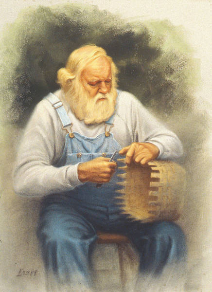 Basket Painting - The Basketmaker In Pastel by Paul Krapf