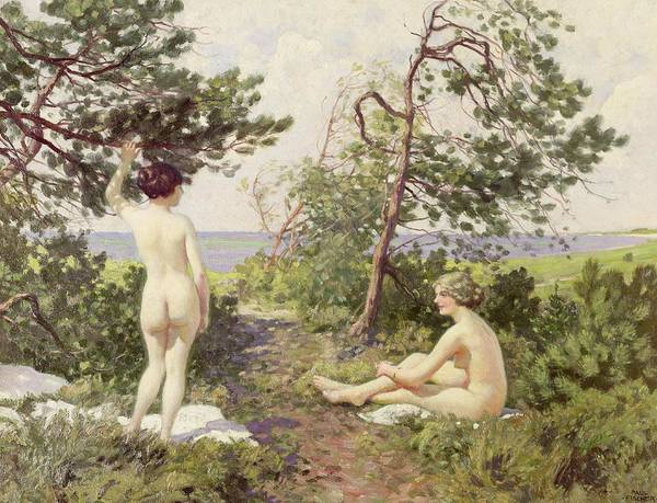 Sunbathing Painting - The Bathers by Paul Fischer
