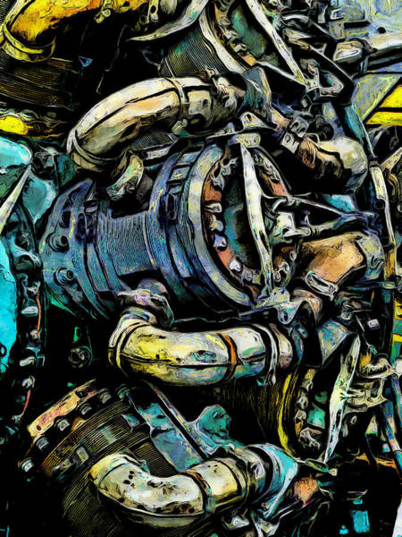 Exhaust Digital Art - The Battered Engine by Steve Taylor