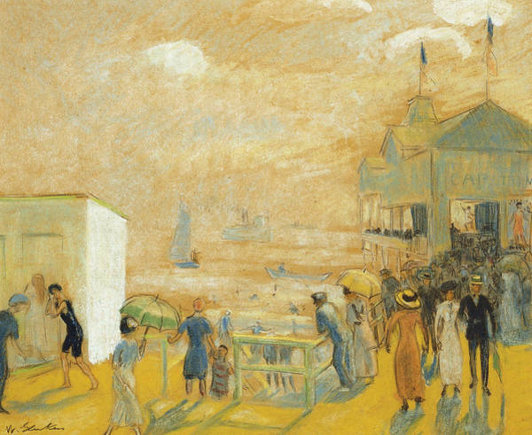 Groups Of People Painting - The Battery by William James Glackens