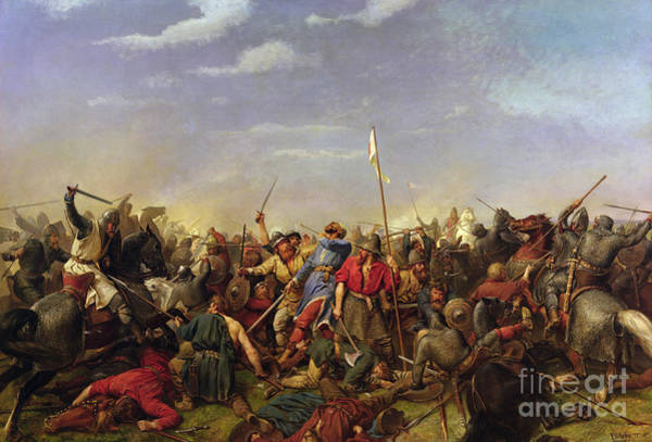 The Battle At Stamford Bridge Art Print by Peder Nicolai Arbo