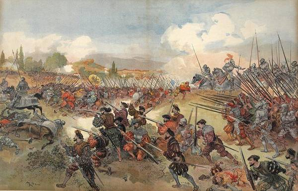 Soldier Drawing - The Battle Of Cerisole, Illustration by Albert Robida