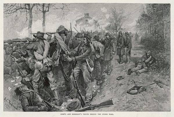 Confederate Soldier Drawing - The Battle Of Fredericksburg  Cobb's by Mary Evans Picture Library