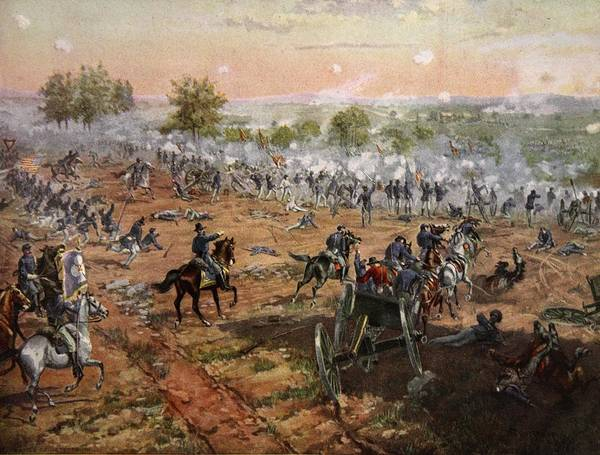 Attack Drawing - The Battle Of Gettysburg, July 1st-3rd by Henry Alexander Ogden