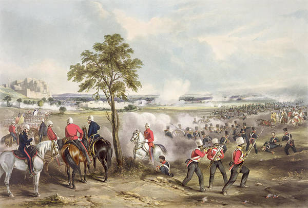 Soldier Drawing - The Battle Of Goojerat On 21st February by Henry Martens
