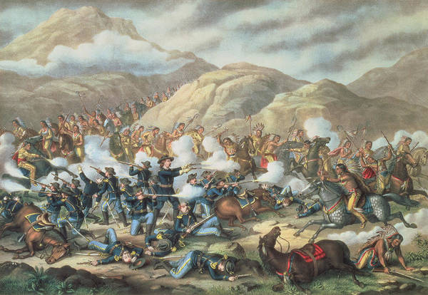 Wall Art - Painting - The Battle Of Little Big Horn, June 25th 1876 by American School